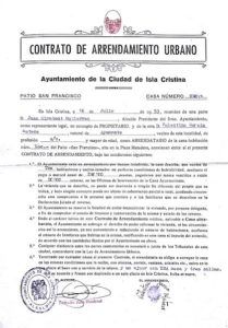 Contrato de arrendamiento de las fincas urbanas del Patio San Francisco en el Documento del Mes de Isla Cristina