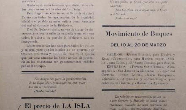 Documento del Mes de Marzo emitido desde la Delegación Municipal de Patrimonio, Arhivo y Biblioteca.